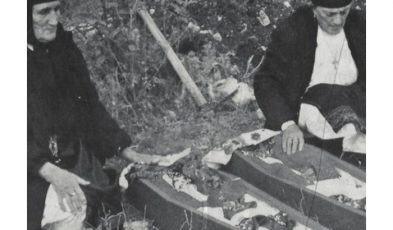This photo shows the reburial ceremony of Prena and Dina Gjikola in 2003, in their birthplace in Mirdita region, North Albania. Photo courtesy: Fatbardha Saraci.