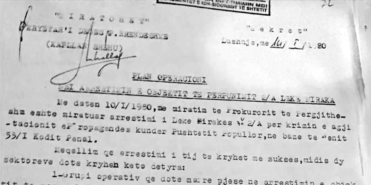 Plan operacioni për Lekë Mirakaj