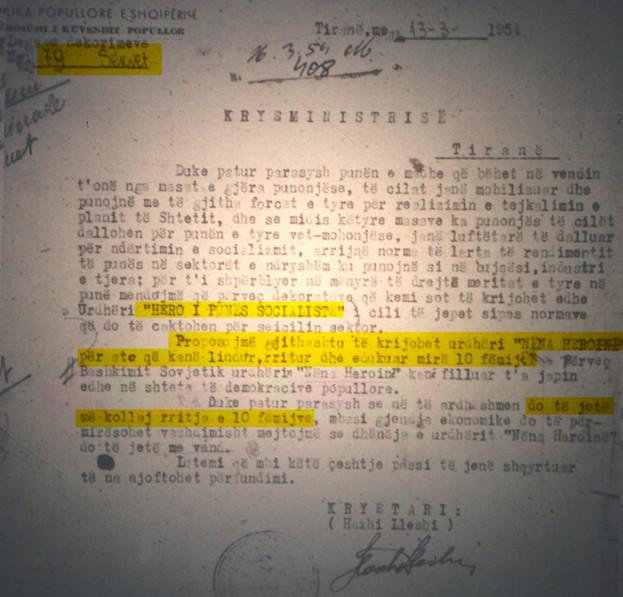 Letër e kryetarit të Presidiumit Popullor, Haxhi Lleshi