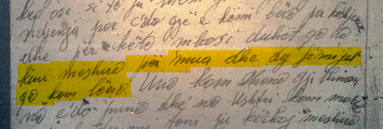 Pjesë nga letra e Dervish Bejkos