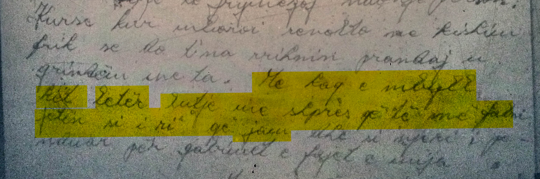 Pjesë nga letra e Skënder Dajës
