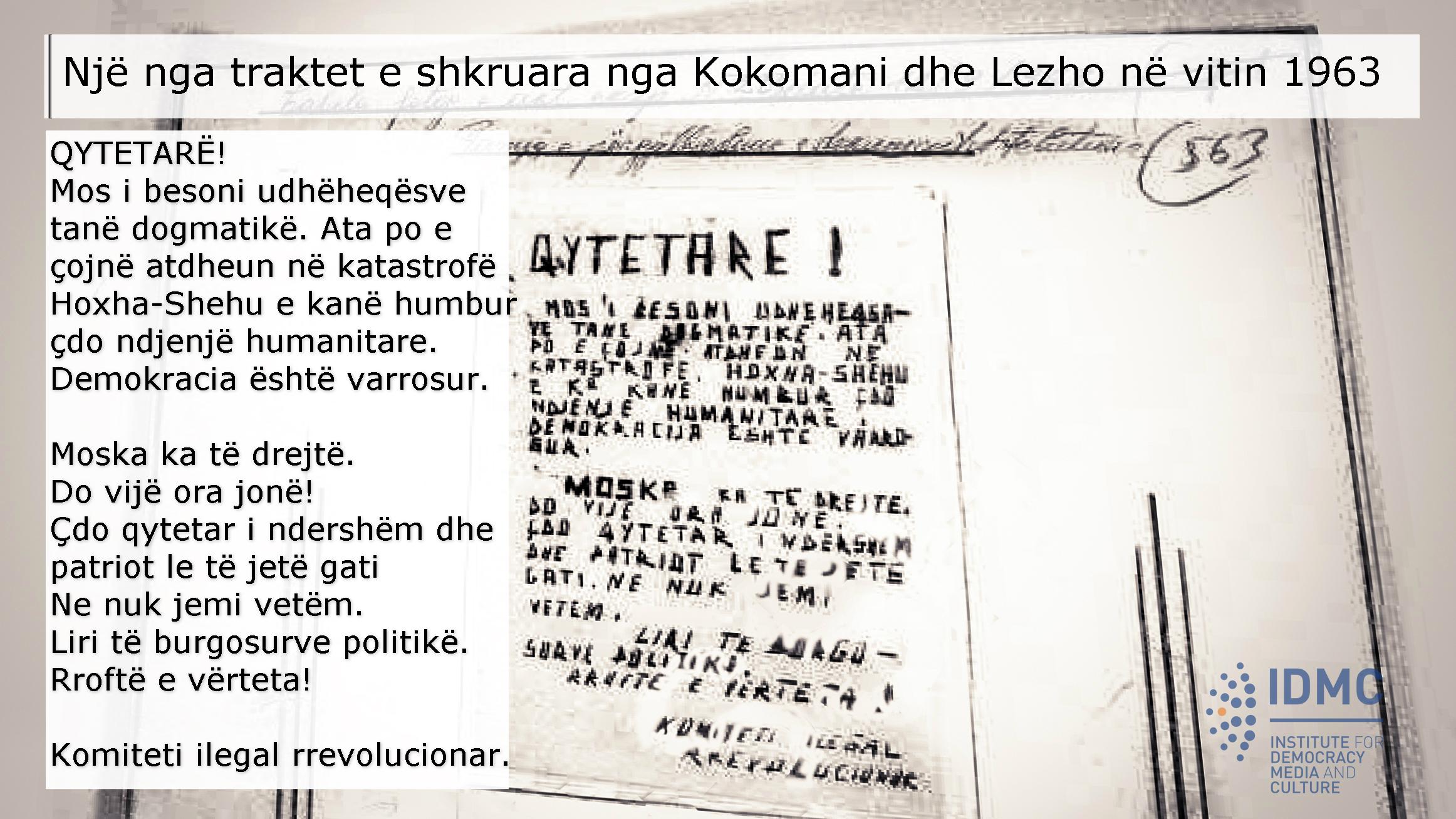 Trakti i vitit 1963 nga grupi i Kokomanit dhe Lezhos