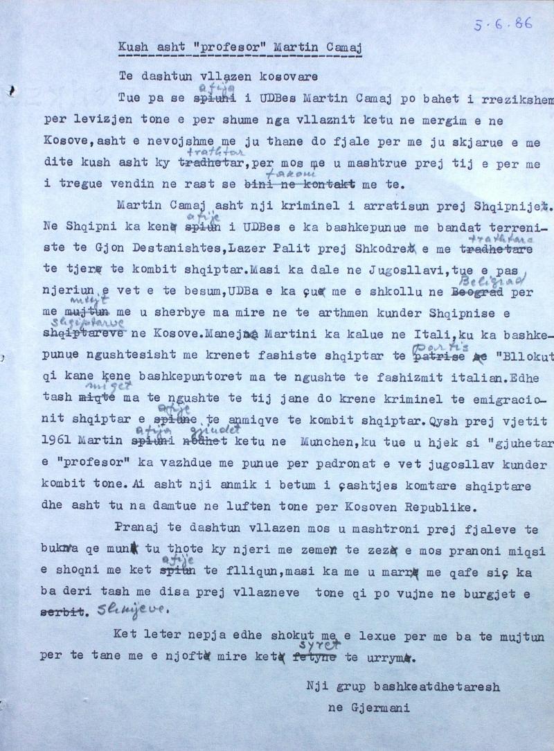 """Letra që porosiste Sigurimi për të shpifur ndaj Martin Camajt. Vini re zëvendësimet e fjalëve me ato dialektore për t'u bërë të besueshme se ishte shkruar nga """"kosovarët"""""""